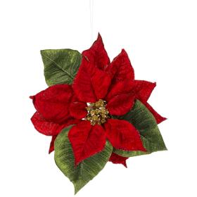 Poinsettia Clip Ornament - Red