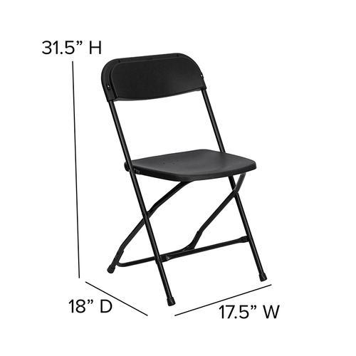 Flash Furniture - Hercules™ Series Plastic Folding Chair - Black - 650LB Weight Capacity Comfortable Event Chair - Lightweight Folding Chair -