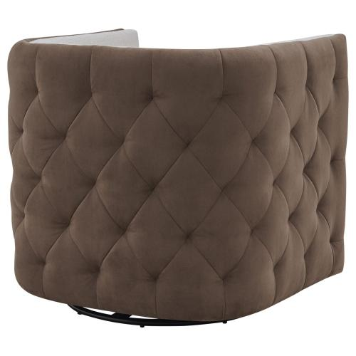 Leslie Fabric Swivel Tufted Accent Arm Chair, Cardiff Cream/Velvet Brown