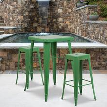 "Commercial Grade 23.75"" Square Green Metal Indoor-Outdoor Bar Table Set with 2 Square Seat Backless Stools"