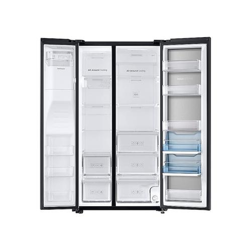 Samsung - 22 cu. ft. Food Showcase Counter Depth Side-by-Side Refrigerator with Metal Cooling in Black Stainless Steel