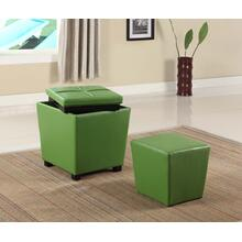 Fun Color 2 in 1 Storage Ottoman w/ Stool Lime Green