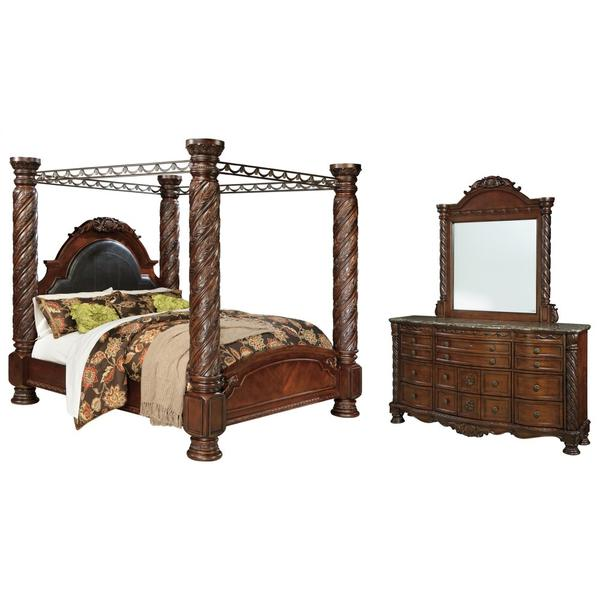 See Details - King Poster Bed With Canopy With Mirrored Dresser