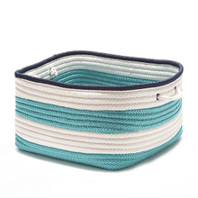 "Nautical Stripe Basket AU31 Turquoise Navy 14"" X 10"""