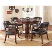 Tournament 6 Piece Dining/Game Table Set - Black Chairs (Dining Table, Black Game Top, & 4 Captain's Chairs)