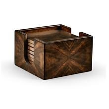 Square Dark Walnut Open Drinks Coasters Box