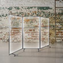 "Transparent Acrylic Mobile Partition with Lockable Casters, 72""H x 36""L (3 Sections Included)"