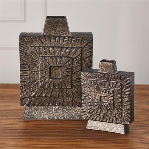 Artisan Square Vase-Bronze-Lg