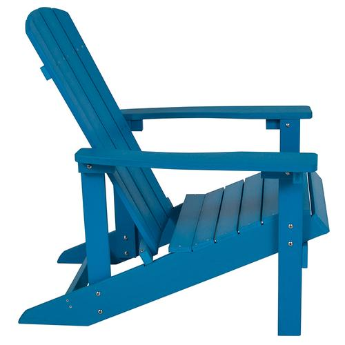 Flash Furniture - Charlestown All-Weather Poly Resin Wood Adirondack Chair in Blue