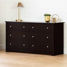 6-Drawer Double Dresser - Chocolate