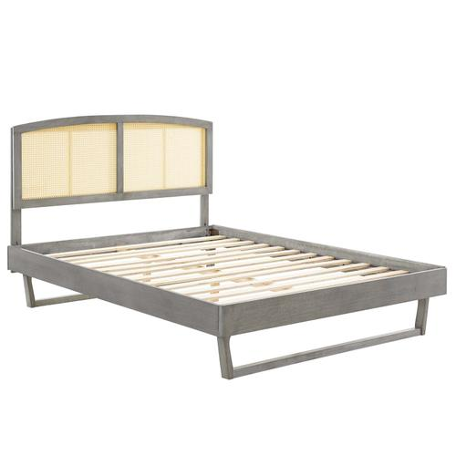 Sierra Cane and Wood Queen Platform Bed With Angular Legs in Gray