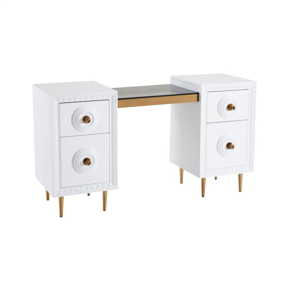 Bovey White Lacquer Desk