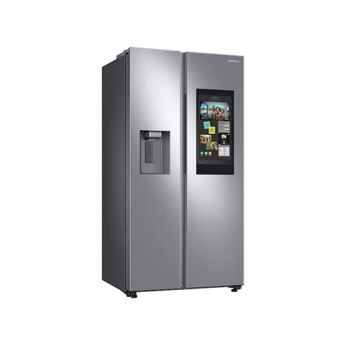Samsung - 22 cu. ft. Counter Depth Side-by-Side Refrigerator with Touch Screen Family Hub™ in Stainless Steel