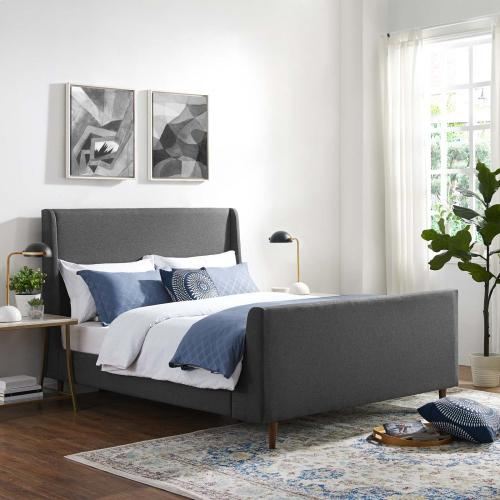 Aubree Queen Upholstered Fabric Sleigh Platform Bed in Gray