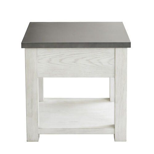 Accentrics Home - Metal Top White Side Table