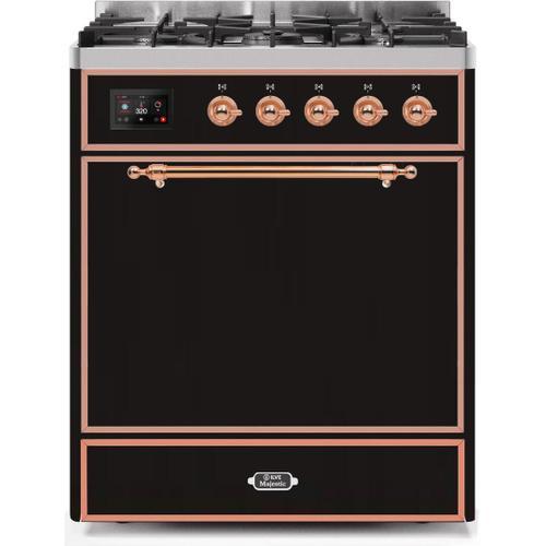 Majestic II 30 Inch Dual Fuel Liquid Propane Freestanding Range in Glossy Black with Copper Trim