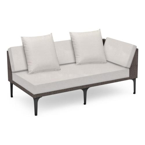"""67"""" Outdoor Dark Grey Rattan 2 Seat L-Shaped Left Sofa Sectional, Upholstered in COM"""