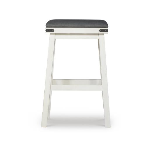 Upholstered Seat and Backless Barstool, White