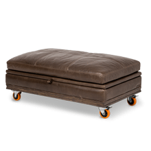 Detroit Leather Storage CT Ottoman with Wheels Haze