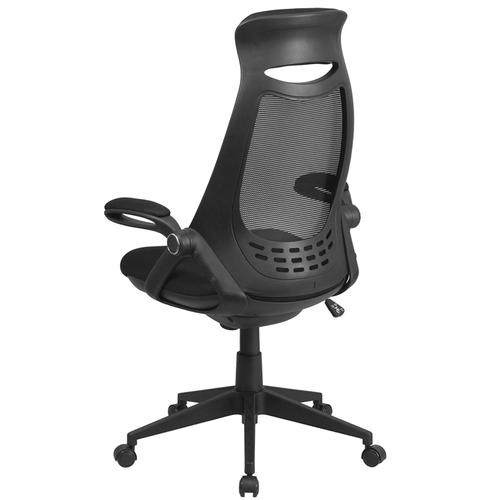 Flash Furniture - High Back Black Mesh Executive Swivel Office Chair with Flip-Up Arms