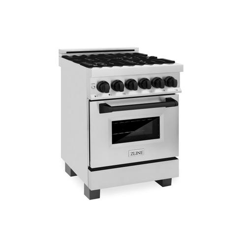 """Zline Kitchen and Bath - ZLINE Autograph Edition 24"""" 2.8 cu. ft. Dual Fuel Range with Gas Stove and Electric Oven in Stainless Steel with Accents (RAZ-24) [Color: Champagne Bronze]"""