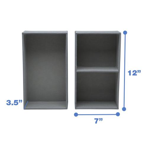 Set of 5 Storage Organizers for Dresser Drawers, Closets or Under Bed - Grey (026)