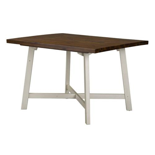 Amelia Dining Table and Four Chairs Set, Light Brown Top with Distressed White Base