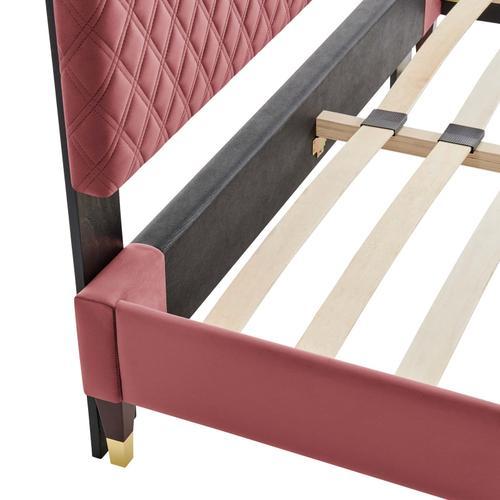 Harlow Queen Performance Velvet Platform Bed Frame in Dusty Rose
