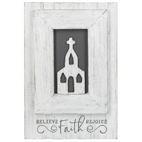 Believe, Faith, Rejoice Layered Plaque