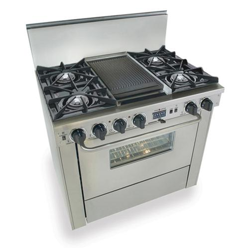 """Five Star - 36"""" Dual Fuel, Convect, Self-Clean, Open Burners, Stainless Steel"""