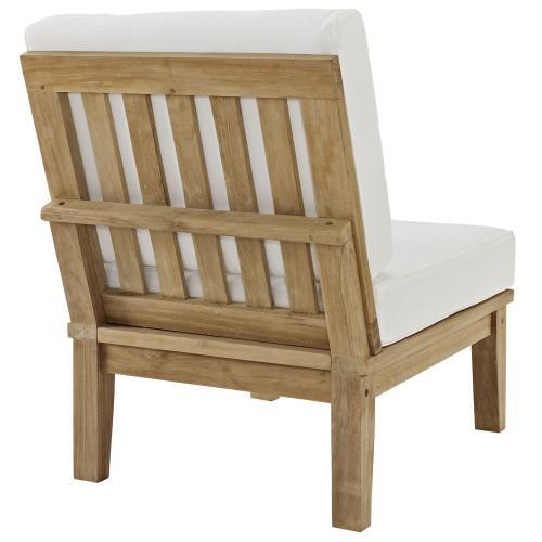 Marina Armless Outdoor Patio Teak Sofa in Natural White