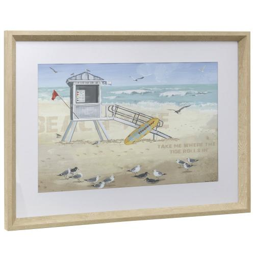 Style Craft - BEACH TIME  17in w X 23in ht  Framed Print Under Glass with Matte