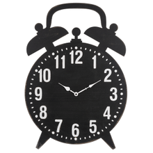 Carved Distressed Black Alarm Clock Wall Clock