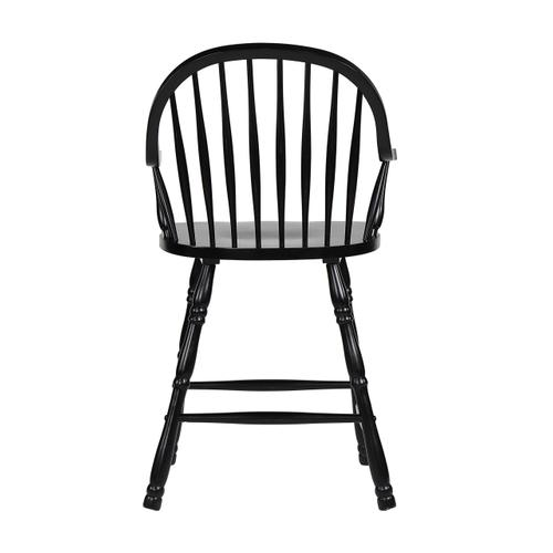 Windsor Counter Height Arm Stool - Antique Black (Set of 2)