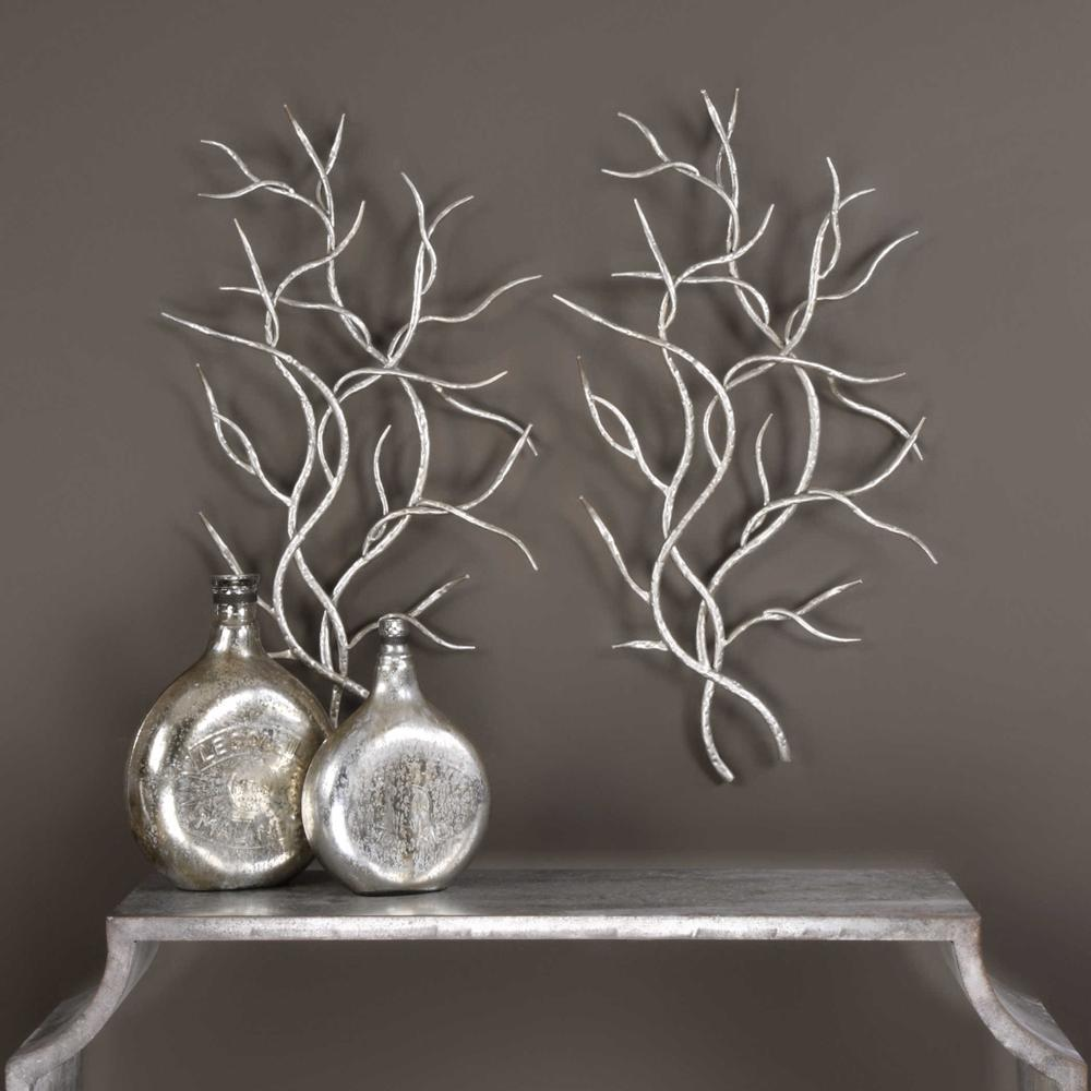 See Details - Silver Branches Metal Wall Decor, S/2