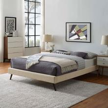 View Product - Loryn Queen Fabric Bed Frame with Round Splayed Legs in Beige