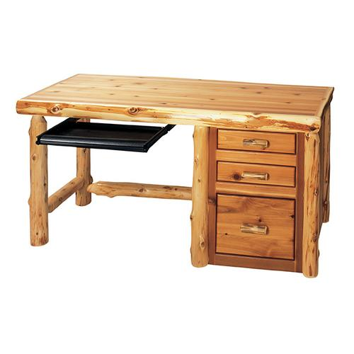 File Desk with keyboard slide - Natural Cedar - Right side file - Liquid Glass