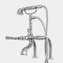 Butler Mill Deck Mount Telephone Tub Filler and Hand-Shower Set with Straight Legs shown with Monte Carlo handles