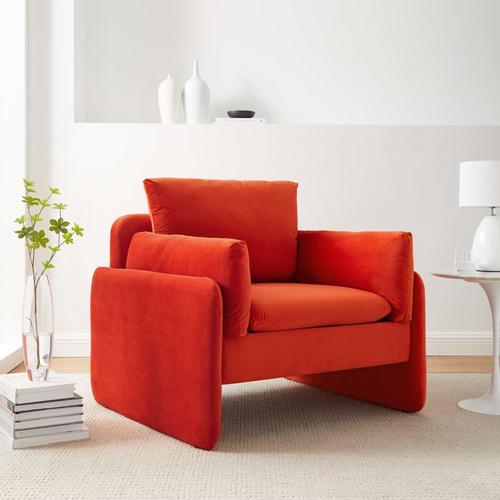 Modway - Indicate Performance Velvet Armchair in Orange