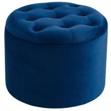 Talia Round Storage Ottoman in Blue