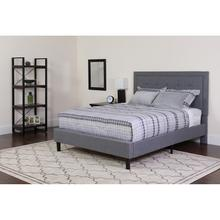 Roxbury Full Size Tufted Upholstered Platform Bed in Light Gray Fabric