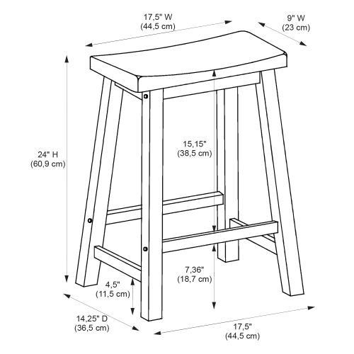 Saddle Seat Counter Stool, Distressed Honey Brown