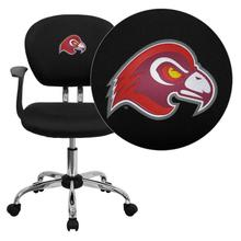 Fairmont State University Falcons Embroidered Black Mesh Task Chair with Arms and Chrome Base