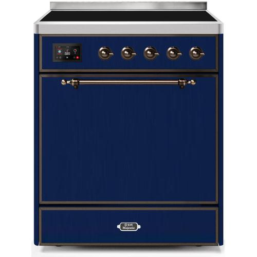 Majestic II 30 Inch Electric Freestanding Range in Blue with Bronze Trim