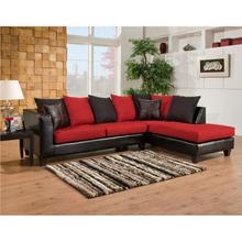 Riverstone Victory Lane Cardinal Microfiber Sectional with Right Side Facing Chaise