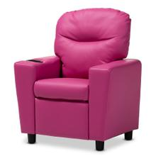 See Details - Baxton Studio Evonka Modern and Contemporary Magenta Pink Faux Leather Kids Recliner Chair