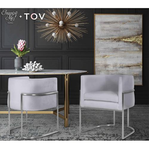 Giselle Grey Velvet Dining Chair with Silver Leg by Inspire Me! Home Decor