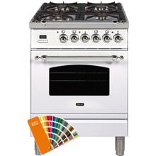 Nostalgie 24 Inch Dual Fuel Natural Gas Freestanding Range in Custom RAL Color with Chrome Trim