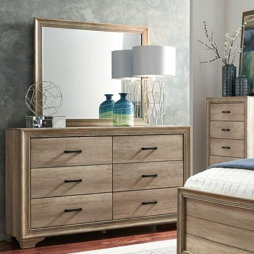 King California Uphosltered Bed, Dresser & Mirror, Chest, Night Stand