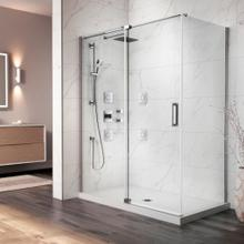 "54"" X 77"" X 36"" Pivot Shower Doors With Clear Glass - Chrome"